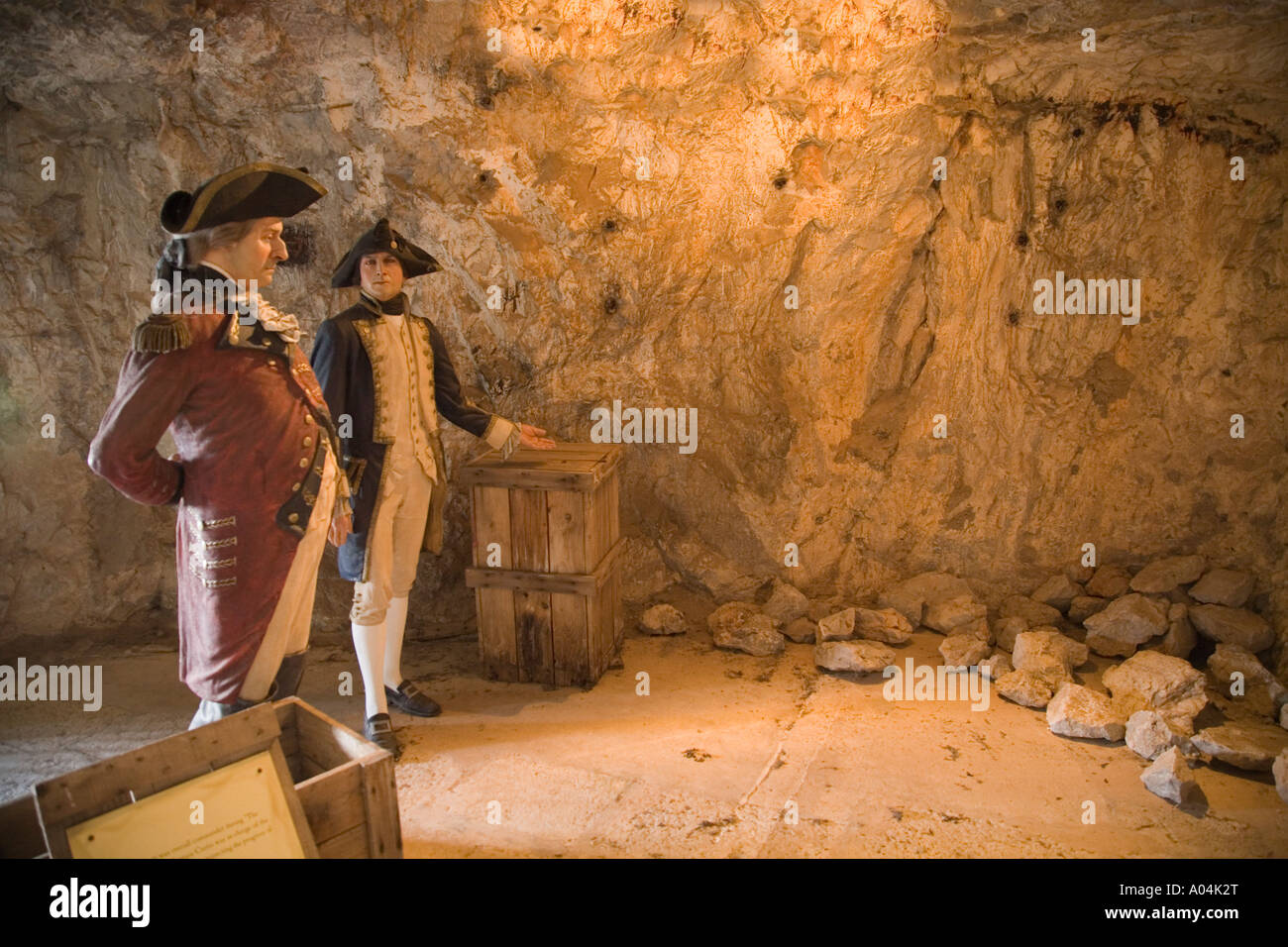 Gibraltar The Great Siege Tunnel Waxwork display of commanding officer General Eliot and Captain Curtis - Stock Image