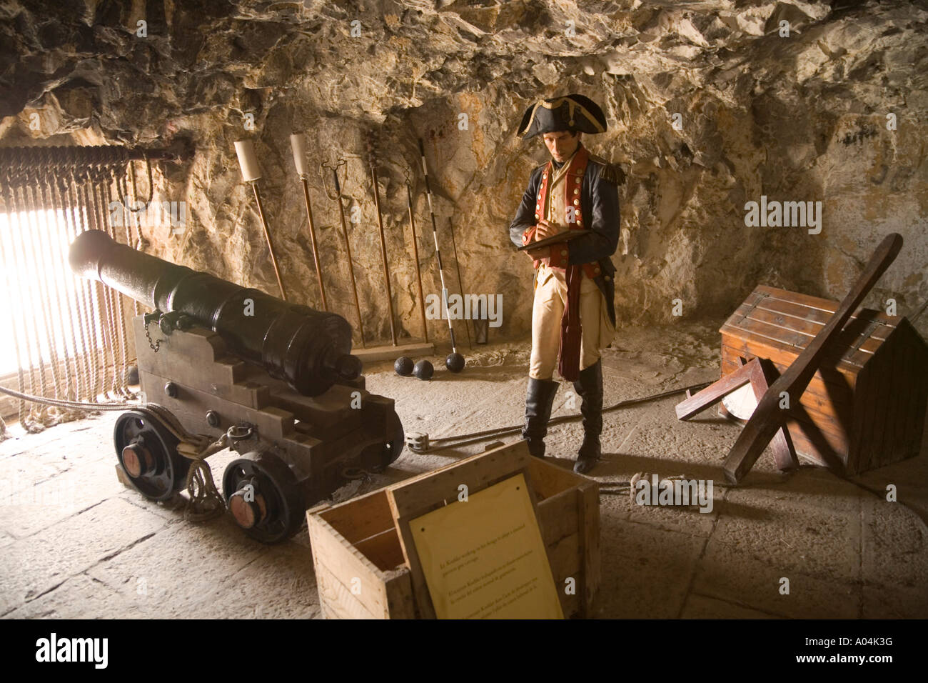Gibraltar The Great Siege Tunnel Waxwork display of officer taking notes at gun embrasure - Stock Image