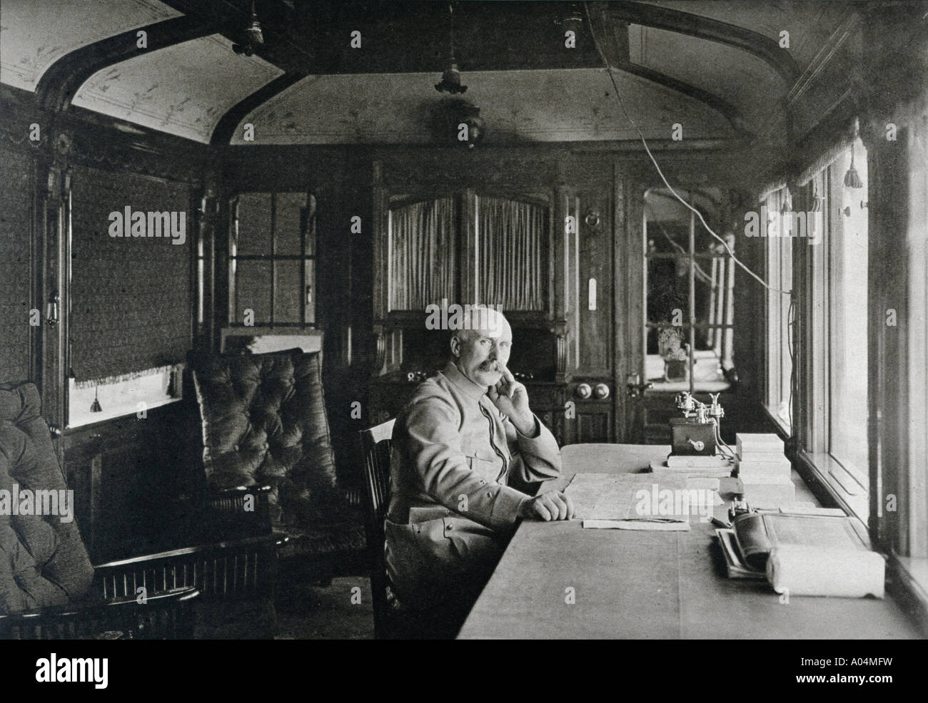 French military commander Philippe Petain 1856 to 1951 sitting in railway carriage office in Autumn 1915 - Stock Image