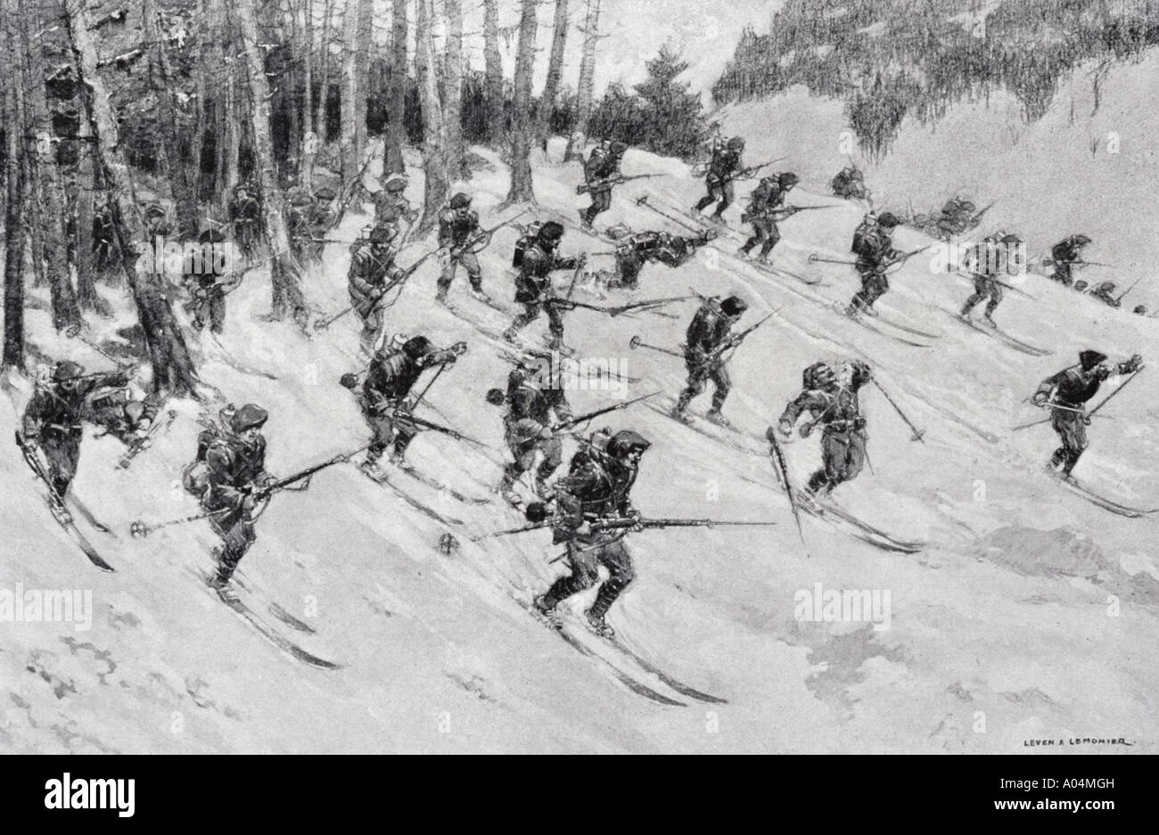 French Alpine troops attacking on skis during World War One from L Illustration magazine 1915 Artist Lever Lemonier - Stock Image