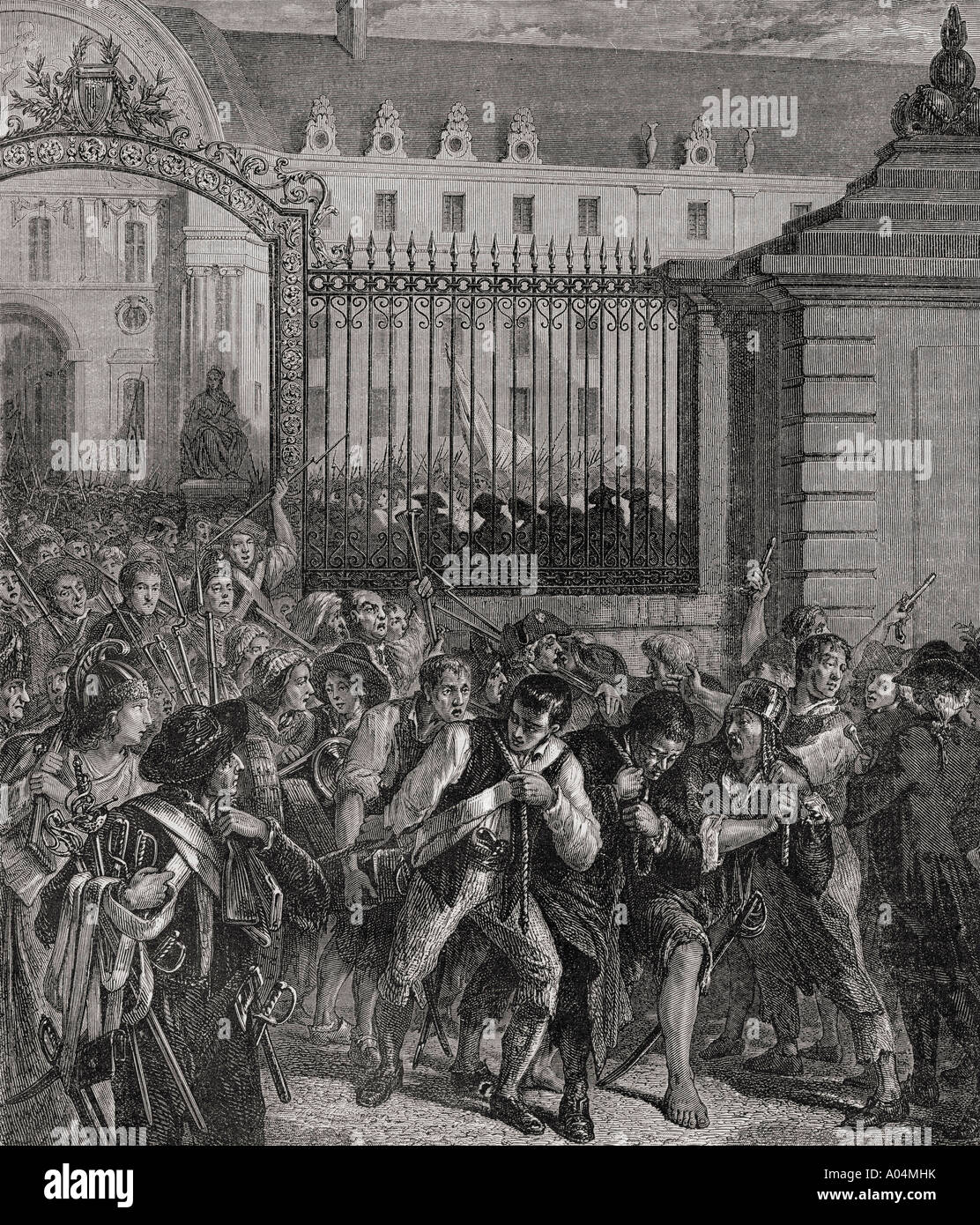 French Revolution Pillage of the Invalides Armoury 14 July 1789 - Stock Image