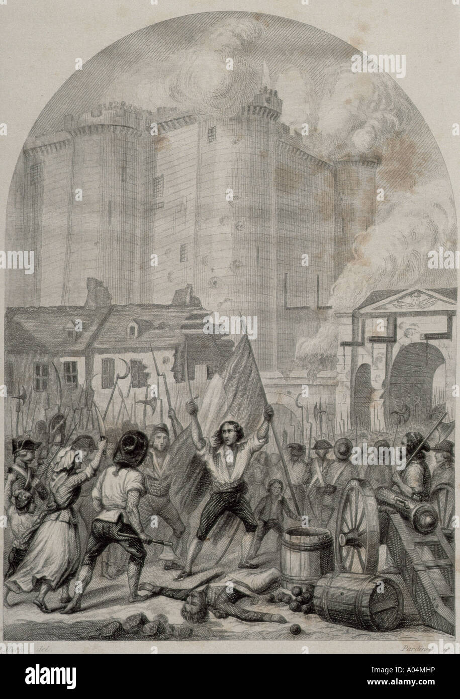 French Revolution Storming of the Bastille in Paris 14 July 1789 - Stock Image