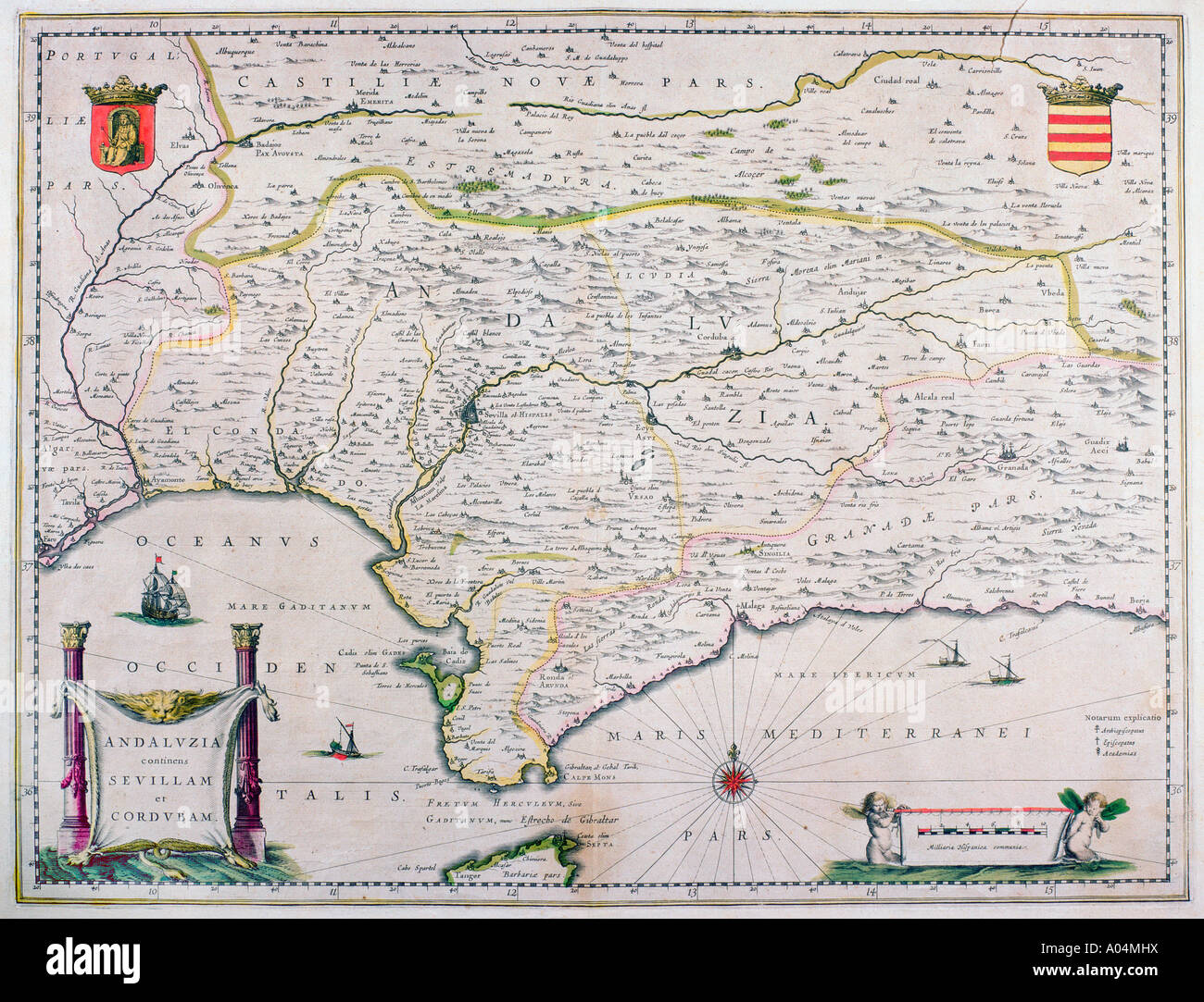 Map of Andalusia Spain by Willem and or Joannes Blaeu published Amsterdam 1640 - Stock Image