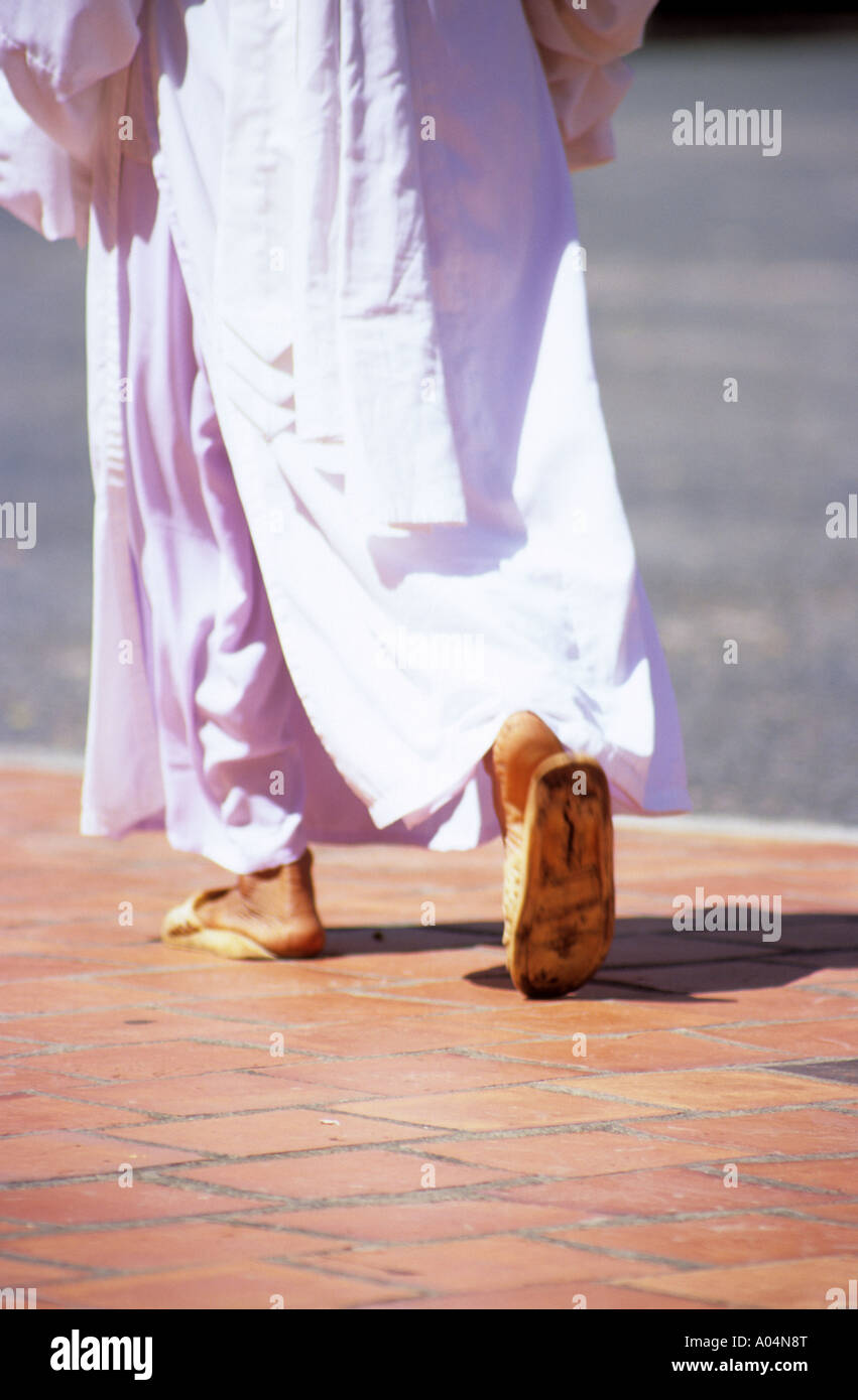2e73e4ff5d26d1 Asian woman in flip flops wearing traditional robes, walking on red  pavement. - Stock