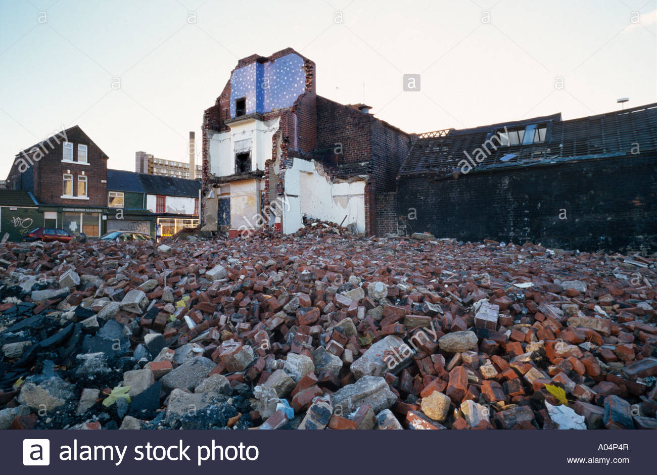 Partially demolished street in an area of low demand in Sheffield - Stock Image