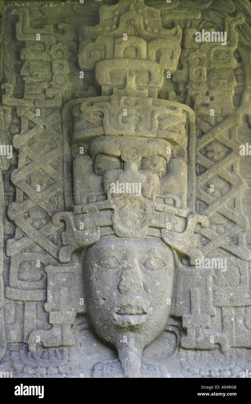 Guatemala. Quirigua. Mayan carving - Stock Image