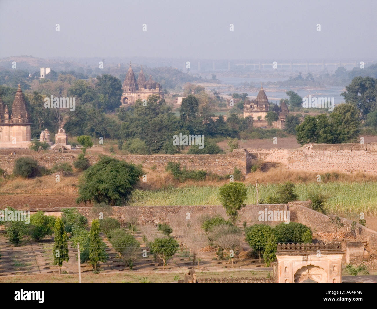 ORCHHA MADHYA PRADESH INDIA November Temples that are memorials to Bundelkhands former rulers from Jehangir Mahal Palace - Stock Image