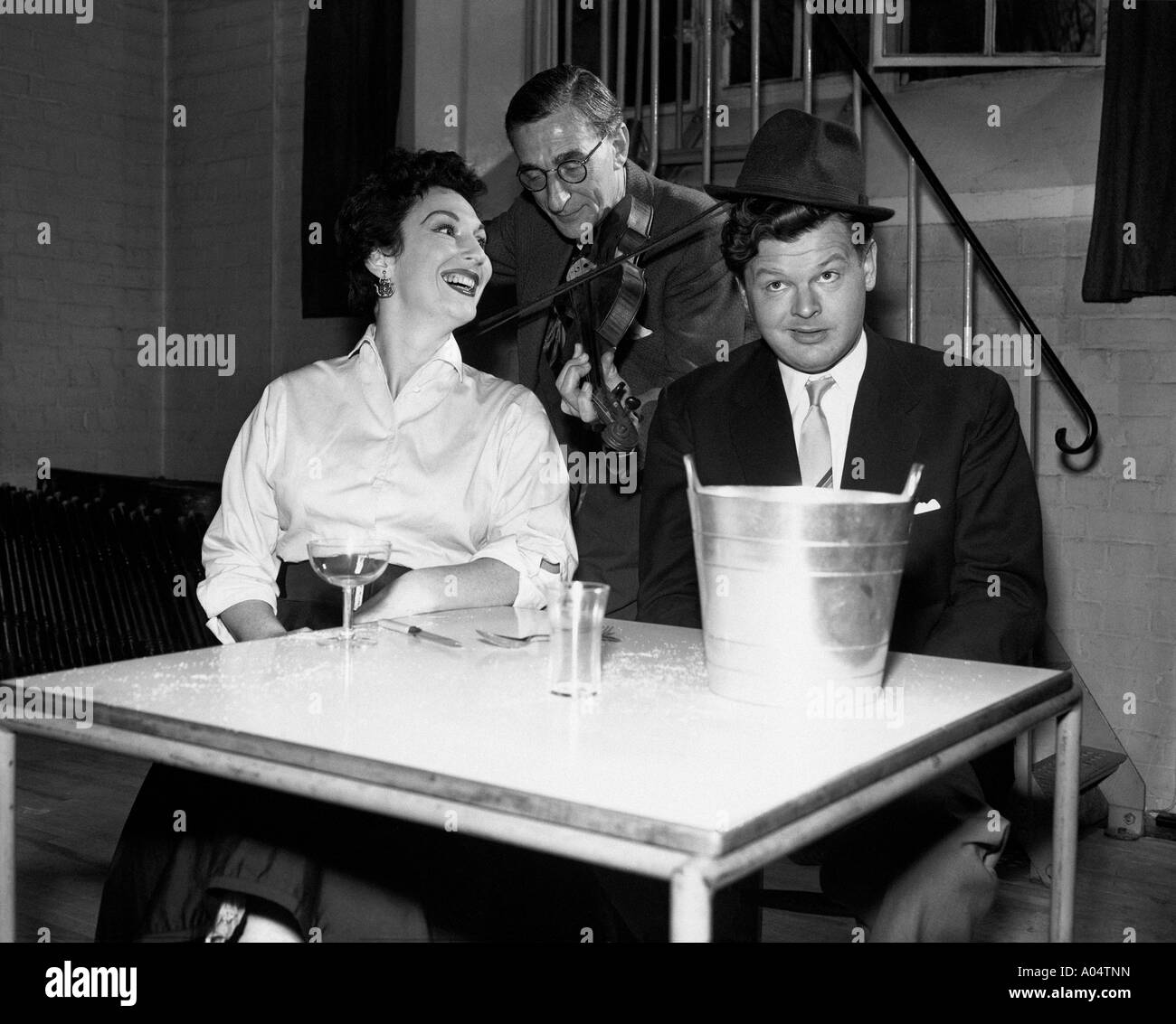 BENNY HILL UK comedian in December 1967 rehearsing with actress Olga Lowe for a TV show Stock Photo