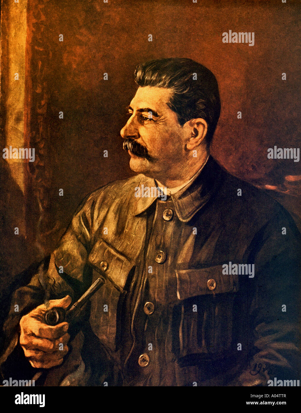 JOSEPH STALIN Soviet revolutionary and leader in a 1944 painting - Stock Image