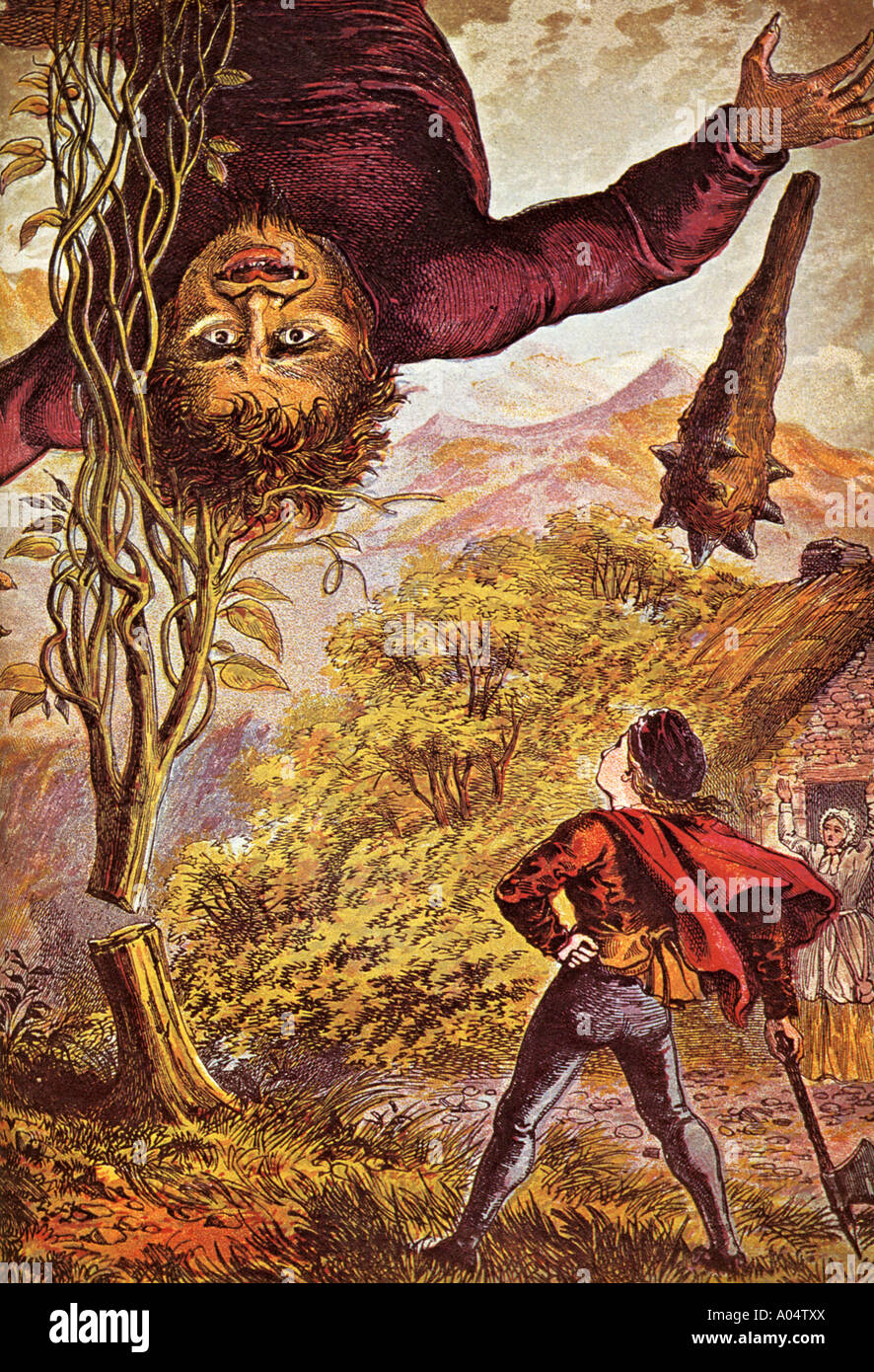 JACK AND THE BEANSTALK in a book illustration from 1871 - Stock Image