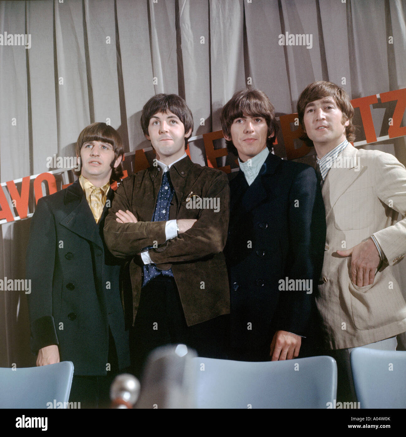BEATLES about 1966 from l: Ringo, Paul, George and John - Stock Image