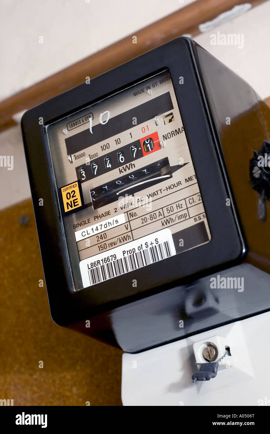 Electricity Meter England great Britain UK - Stock Image