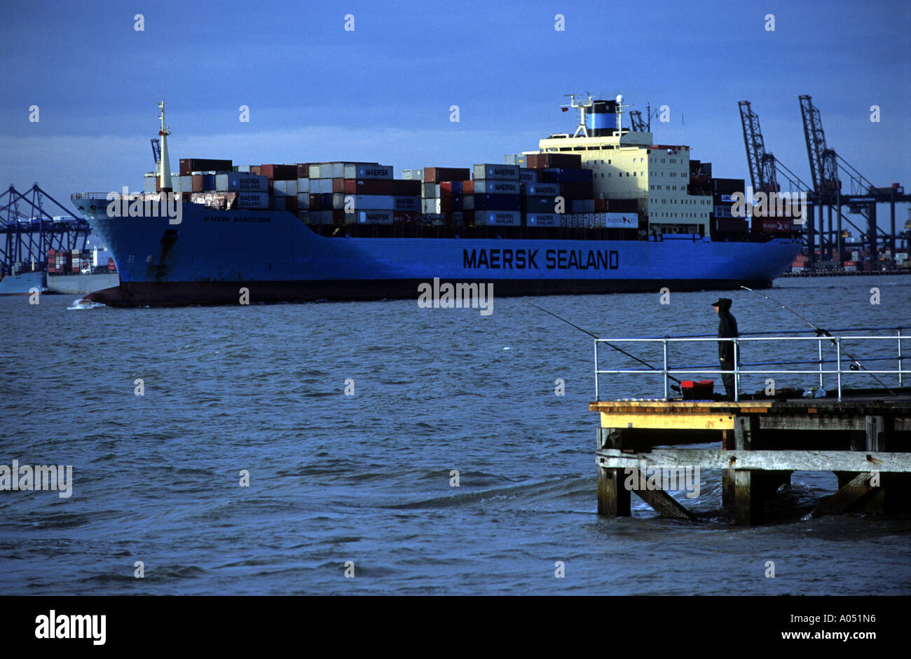 Maersk Sealand container ship leaving the port of Felixstowe in Suffolk, UK. - Stock Image