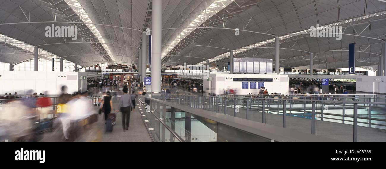 Departure terminal at Chek Lap Kok Airport (now known as Hong Kong International Airport), Hong Kong, China. - Stock Image