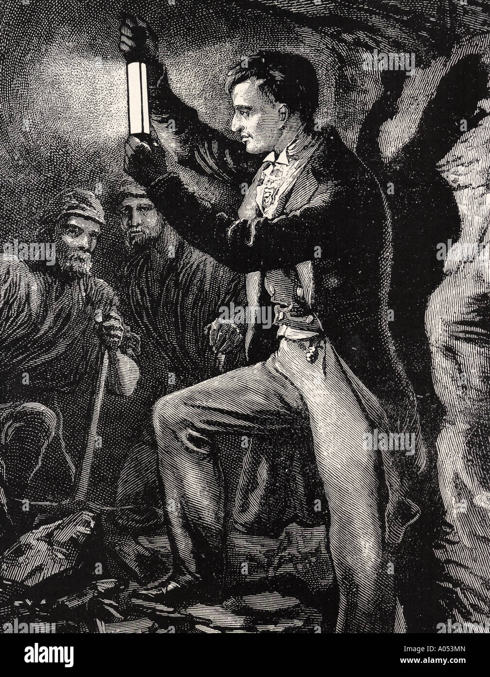 SIR HUMPHREY DAVY 1778 to 1829. English chemist in 1815 with his revolutionary safety lamp for miners - Stock Image