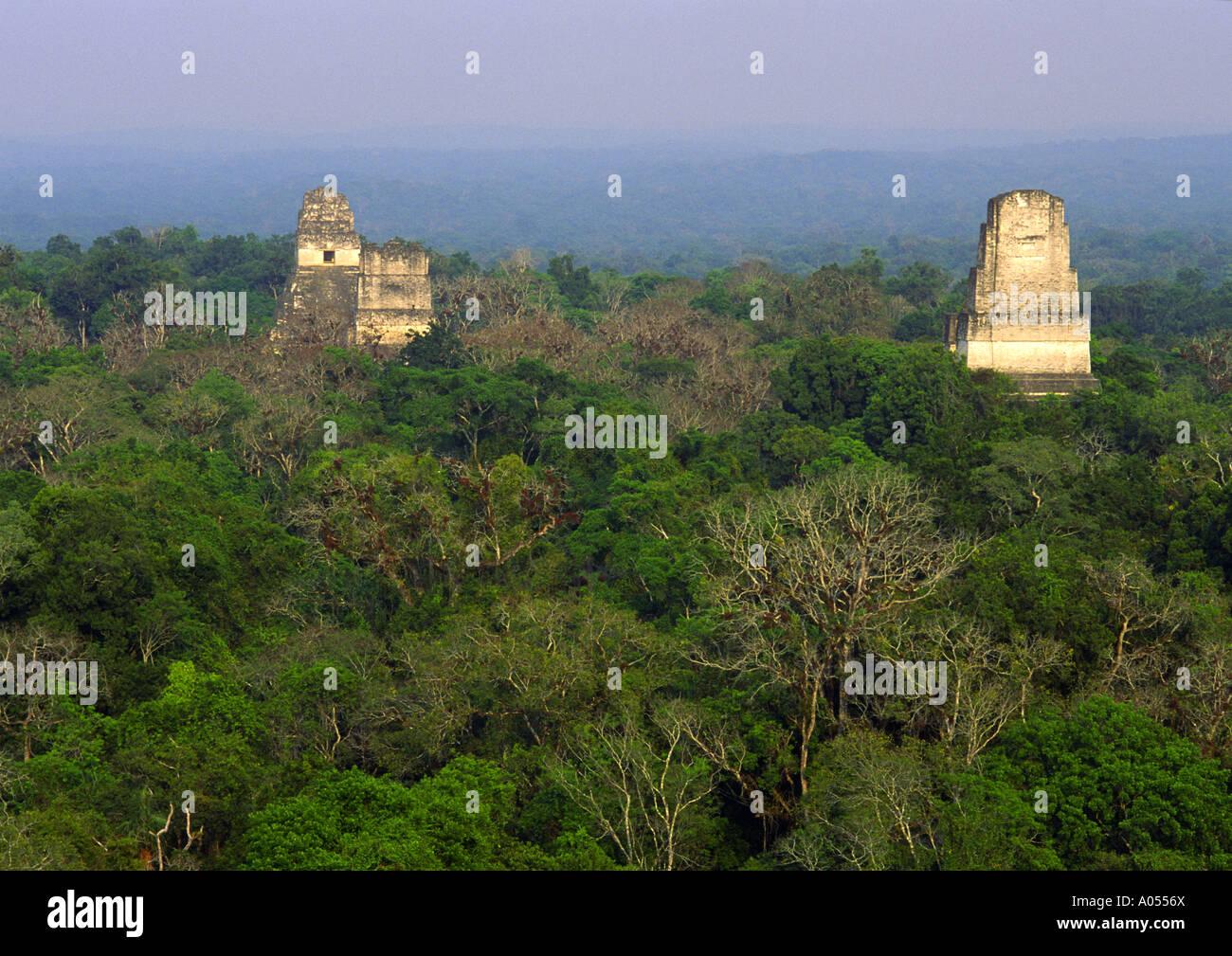 Temples I, II, and III, Tikal, El Petén, Guatemala - Stock Image