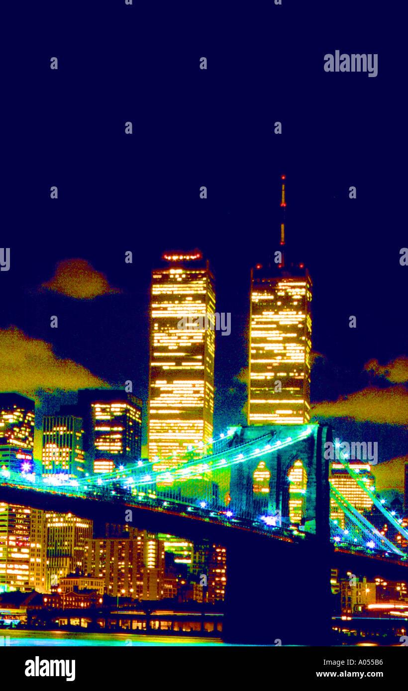 usa new york manhatten skyline brooklyn bridge world trade center night lights windows - Stock Image