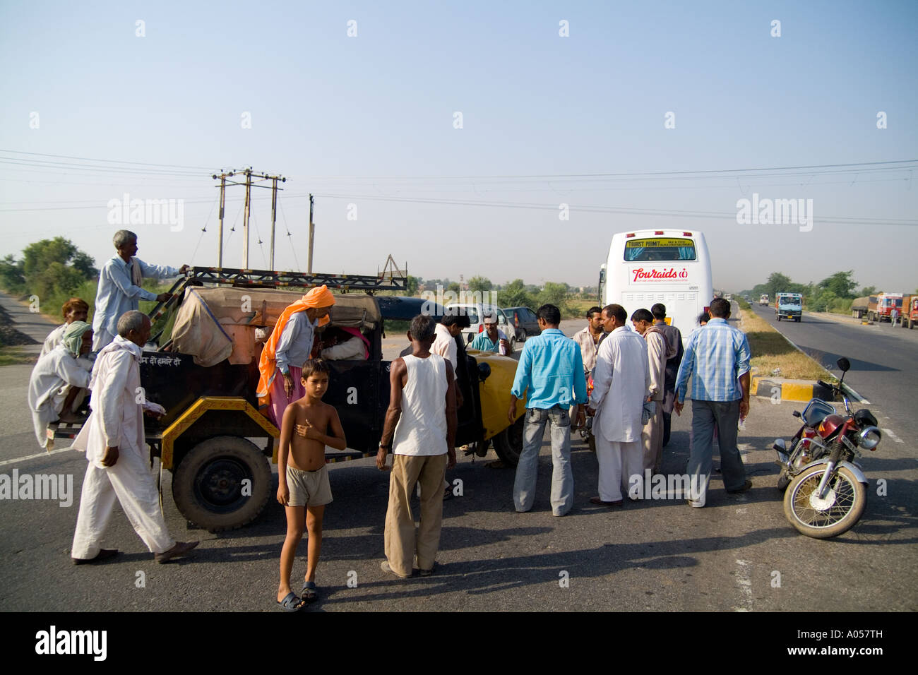 accident with tourist bus and small motor vehicle on dangerous roads