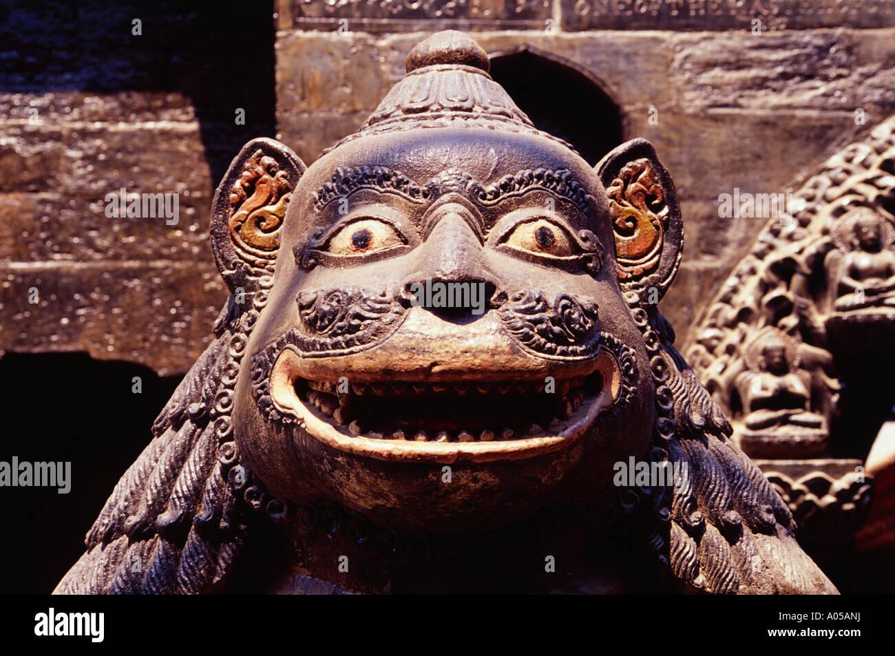 Patan, Golden Temple, Guardian Lion - Stock Image