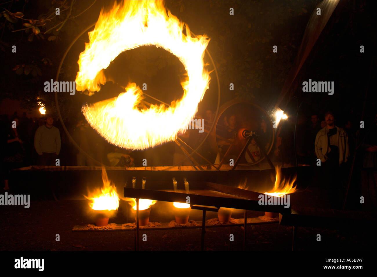 Wheel of fire, fire display, Platt Fields Park, Rusholme, Manchester, UK - Stock Image