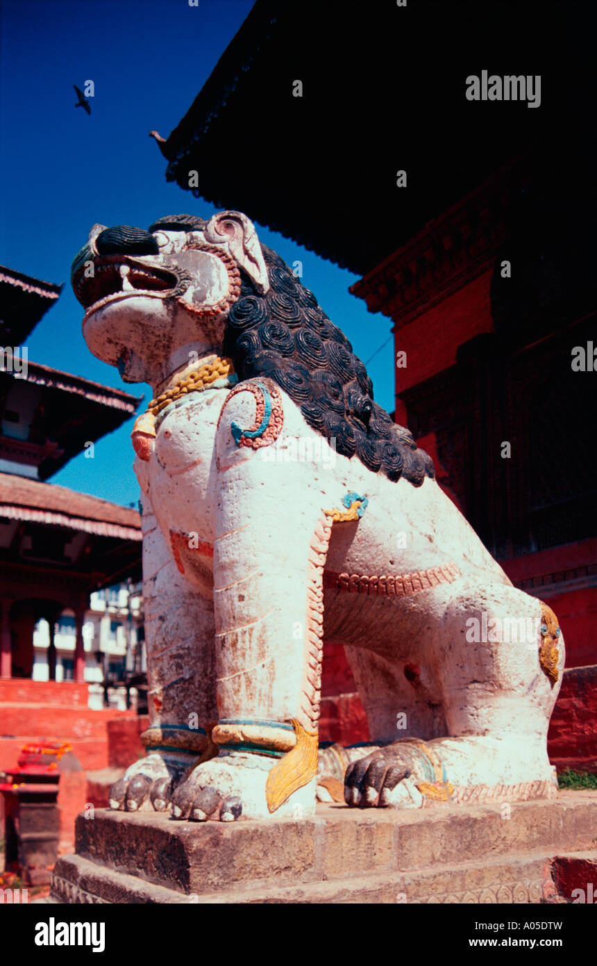 Durbar Square, Mythical Lion - Stock Image