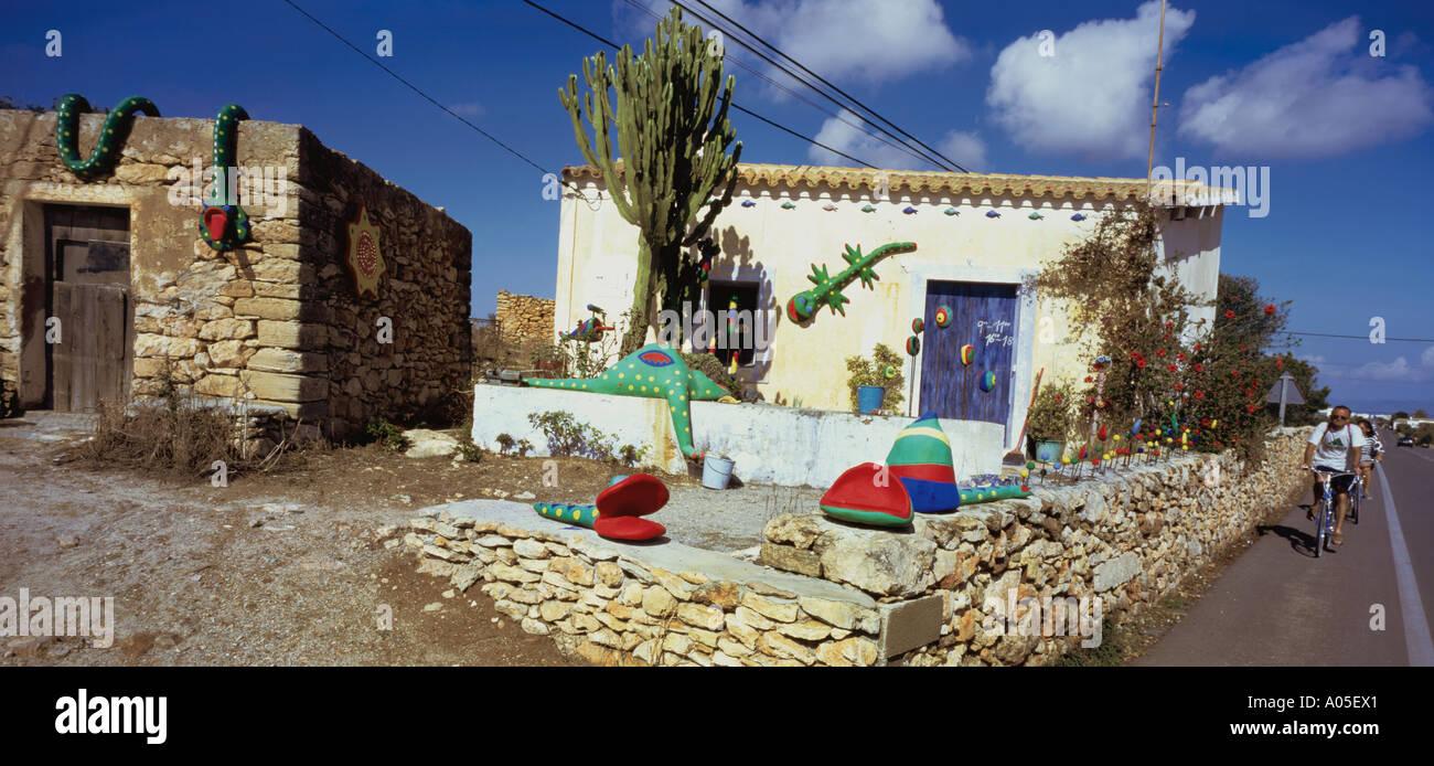 Spain Formentera San Fernando Private house Finca - Stock Image