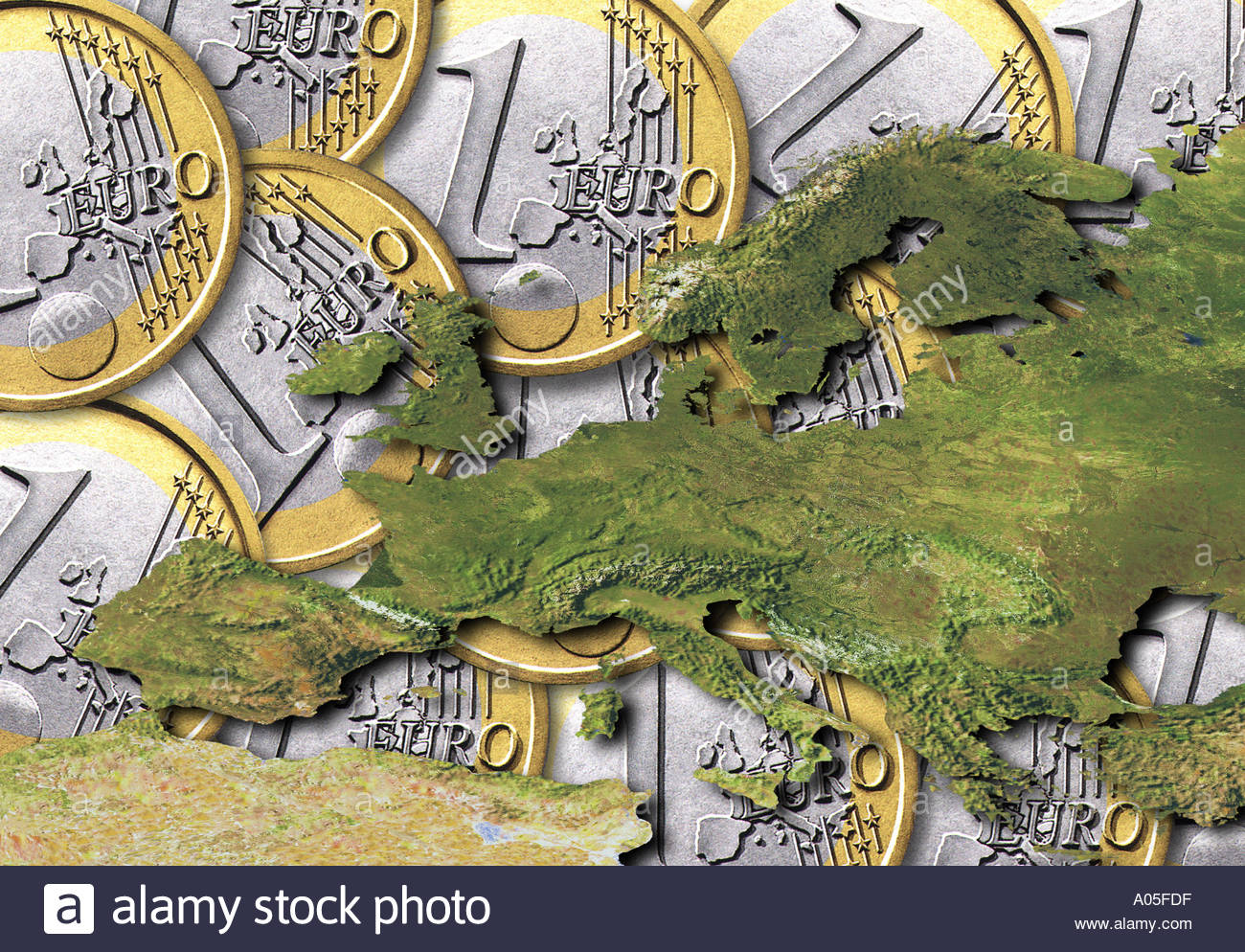 Europe over Euro coins - Stock Image