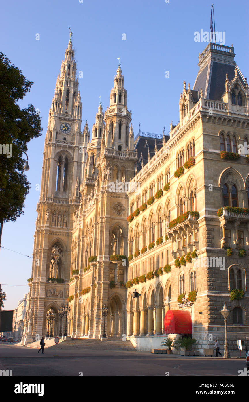 Rathaus Vienna neogothic city hall in Vienna Austria - Stock Image