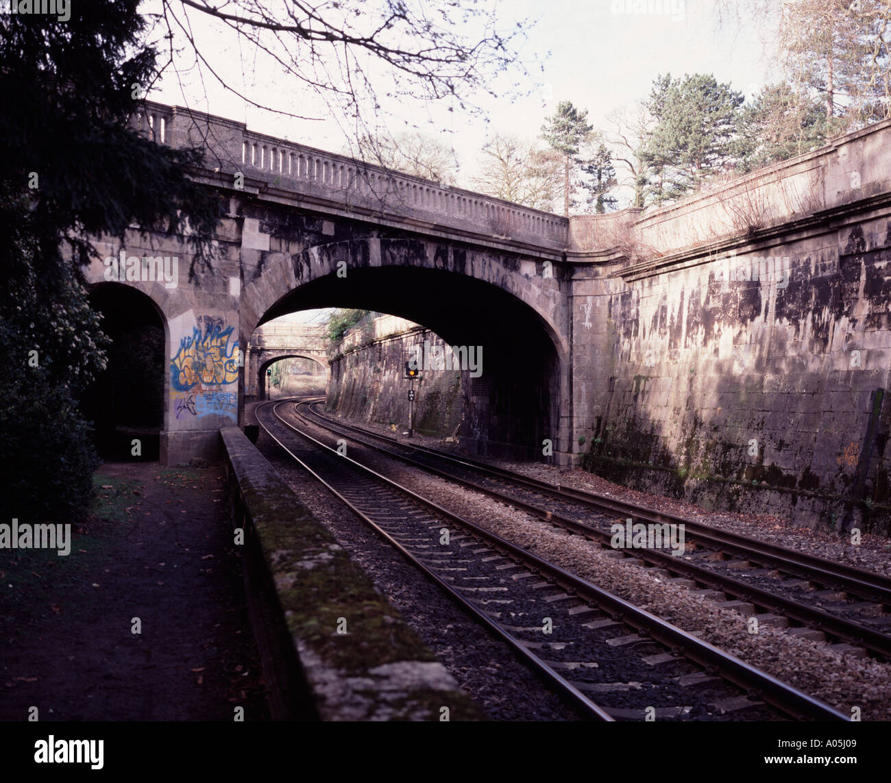 Railway track and bridge Sydney Gardens Bath Spa Somerset UK - Stock Image