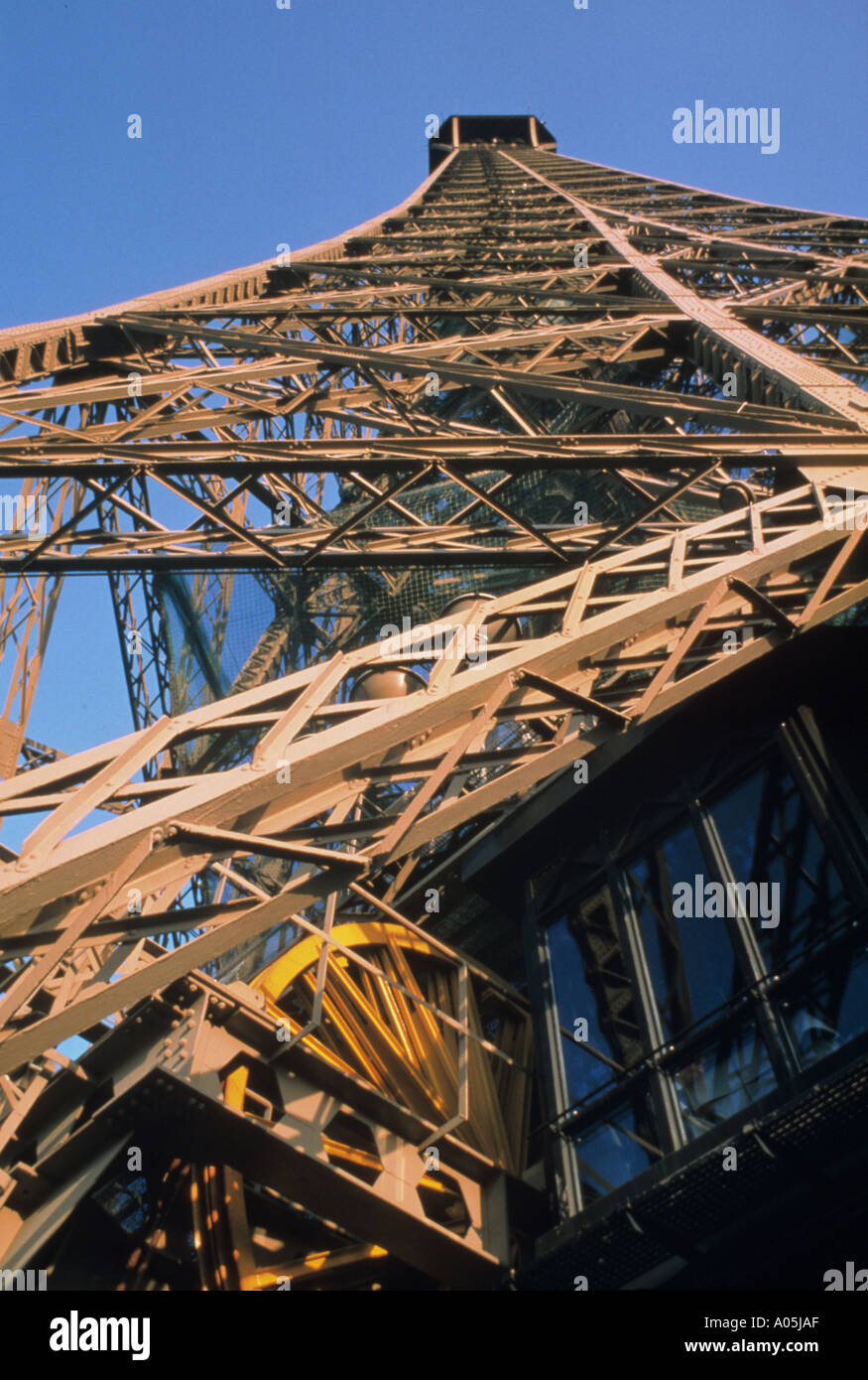Close up view from below of the Eiffel Tower in Paris France - Stock Image