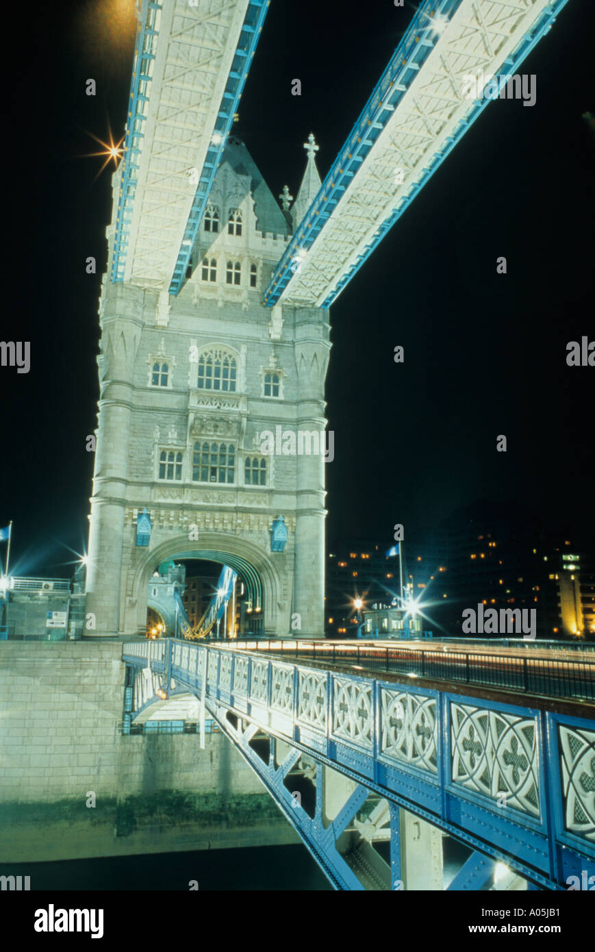 Close up view of the Tower Bridge in London England in the evening - Stock Image