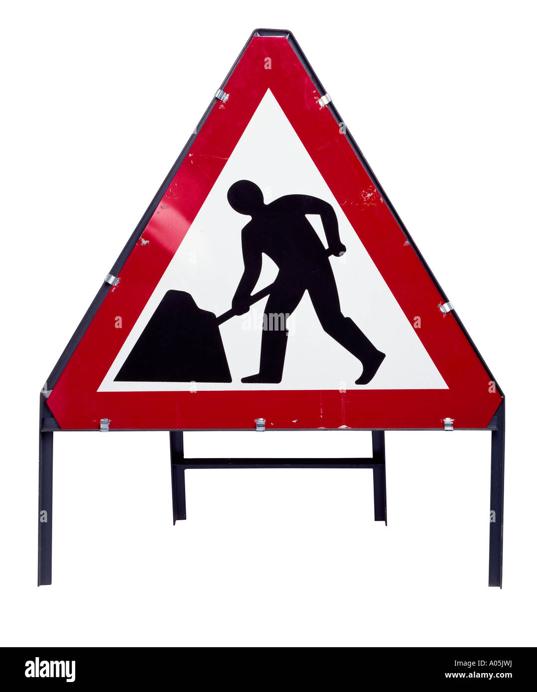 A cut out shot of road works road sign - Stock Image