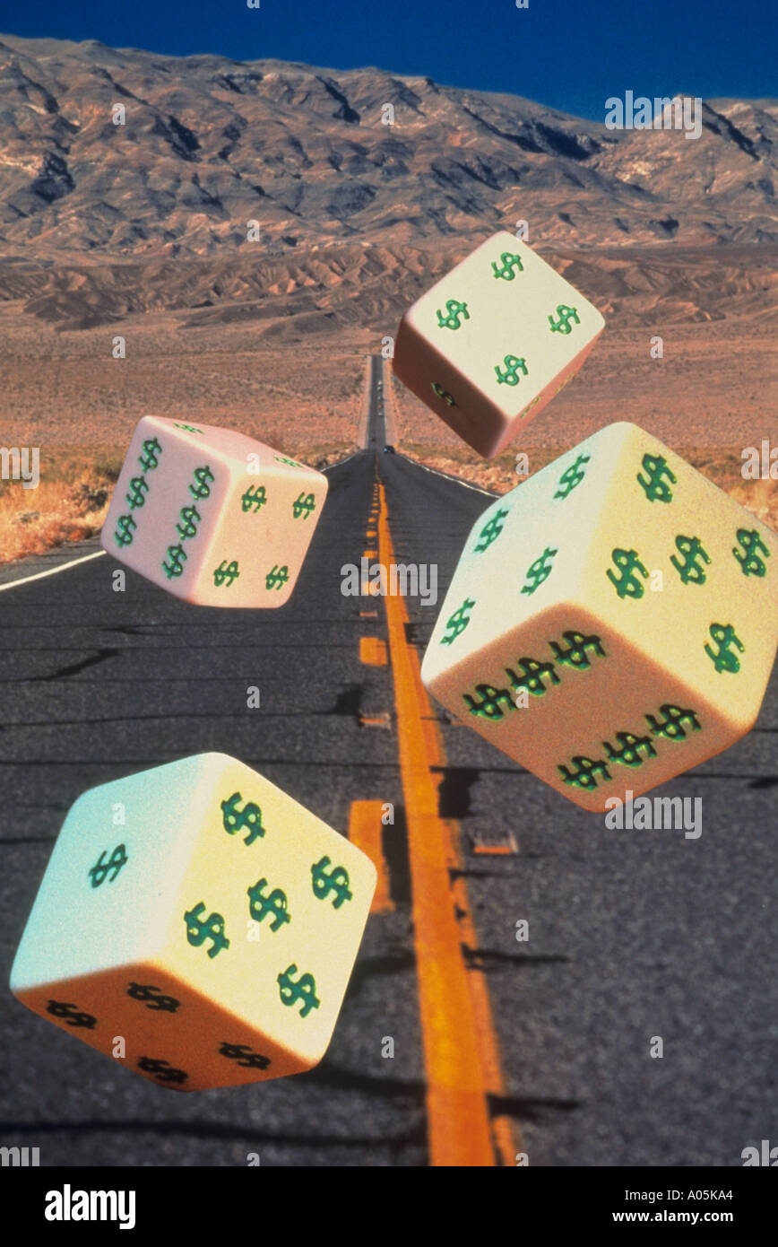 Conceptual image of dice with dollar signs on them being rolled down a highway denoting gambling - Stock Image
