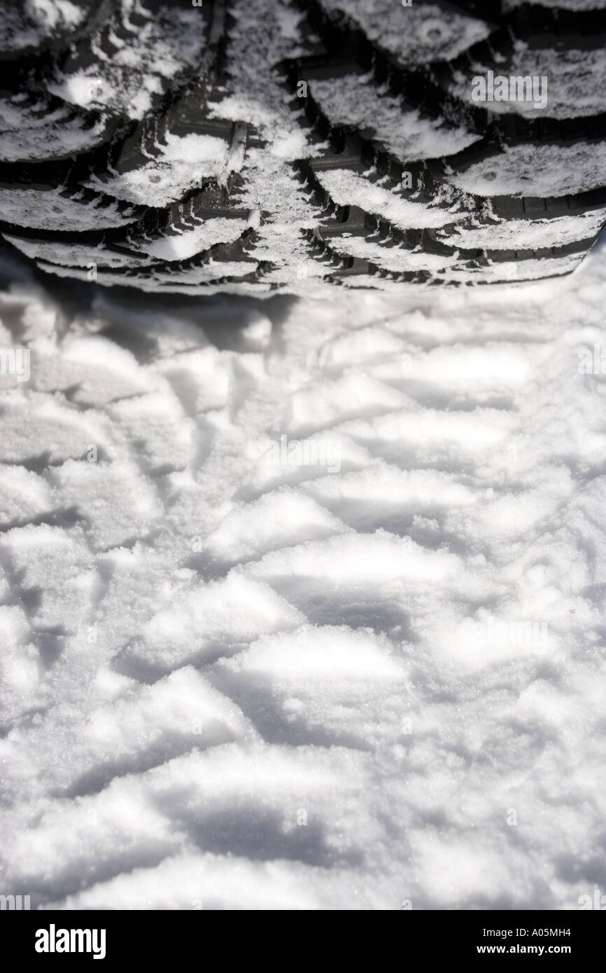 Close-up of a studded car winter tyre , made by Nokian Renkaat , Finland - Stock Image