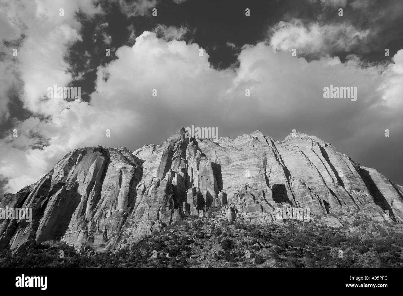 Black and white mountains at zion national park