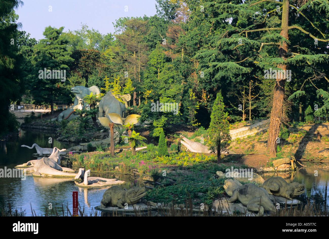 Newly restored Dinosaur models in Crystal Palace Park Sydenham London UK - Stock Image