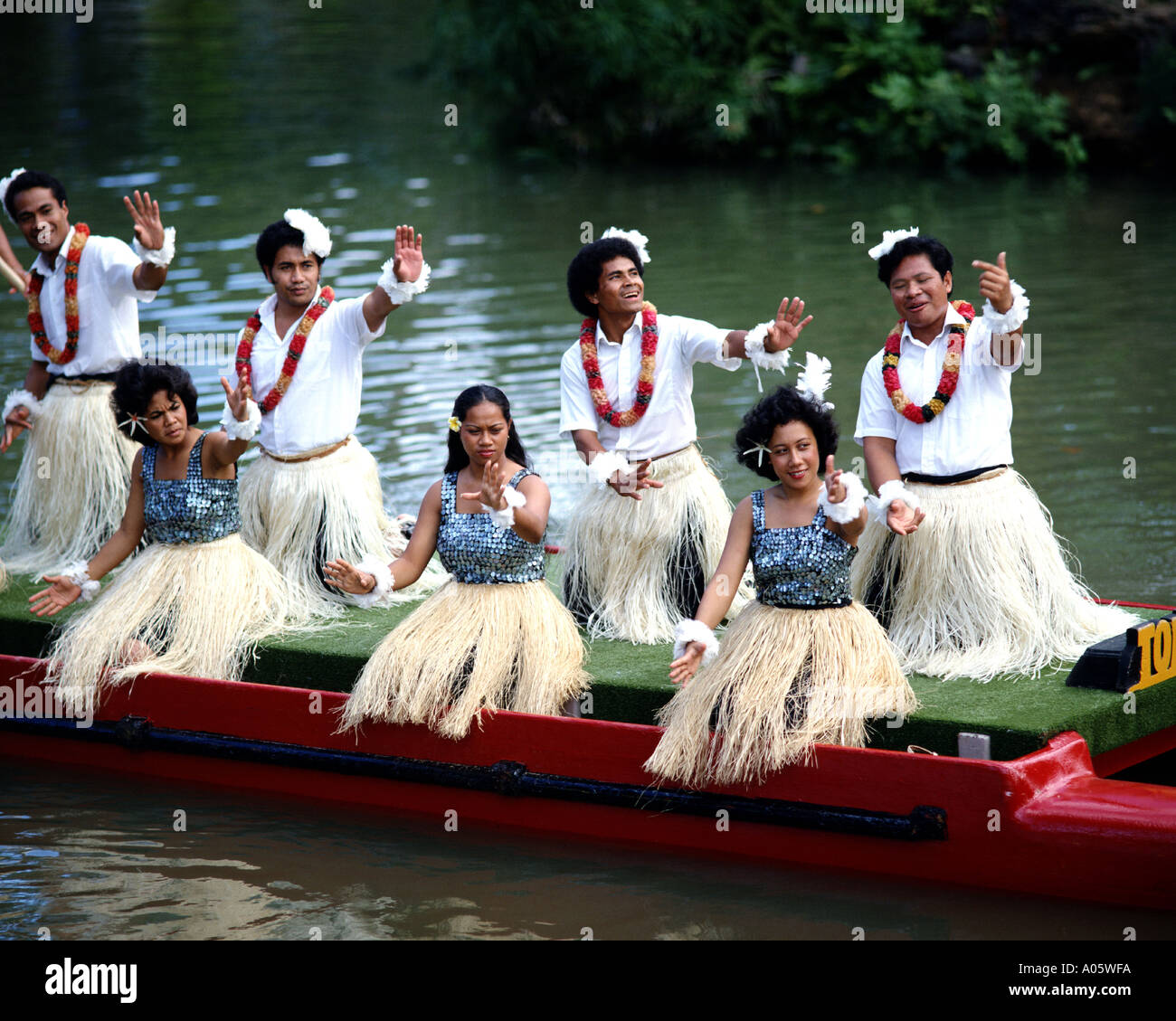 USA - HAWAII: Showtime at the Polynesian Cultural Center on Oahu - Stock Image