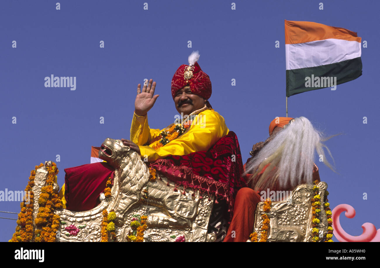 Indian Ultra Hindu Politician. Khumb Mela festival 2001-Allahabad, Uttar Pradesh, India. - Stock Image