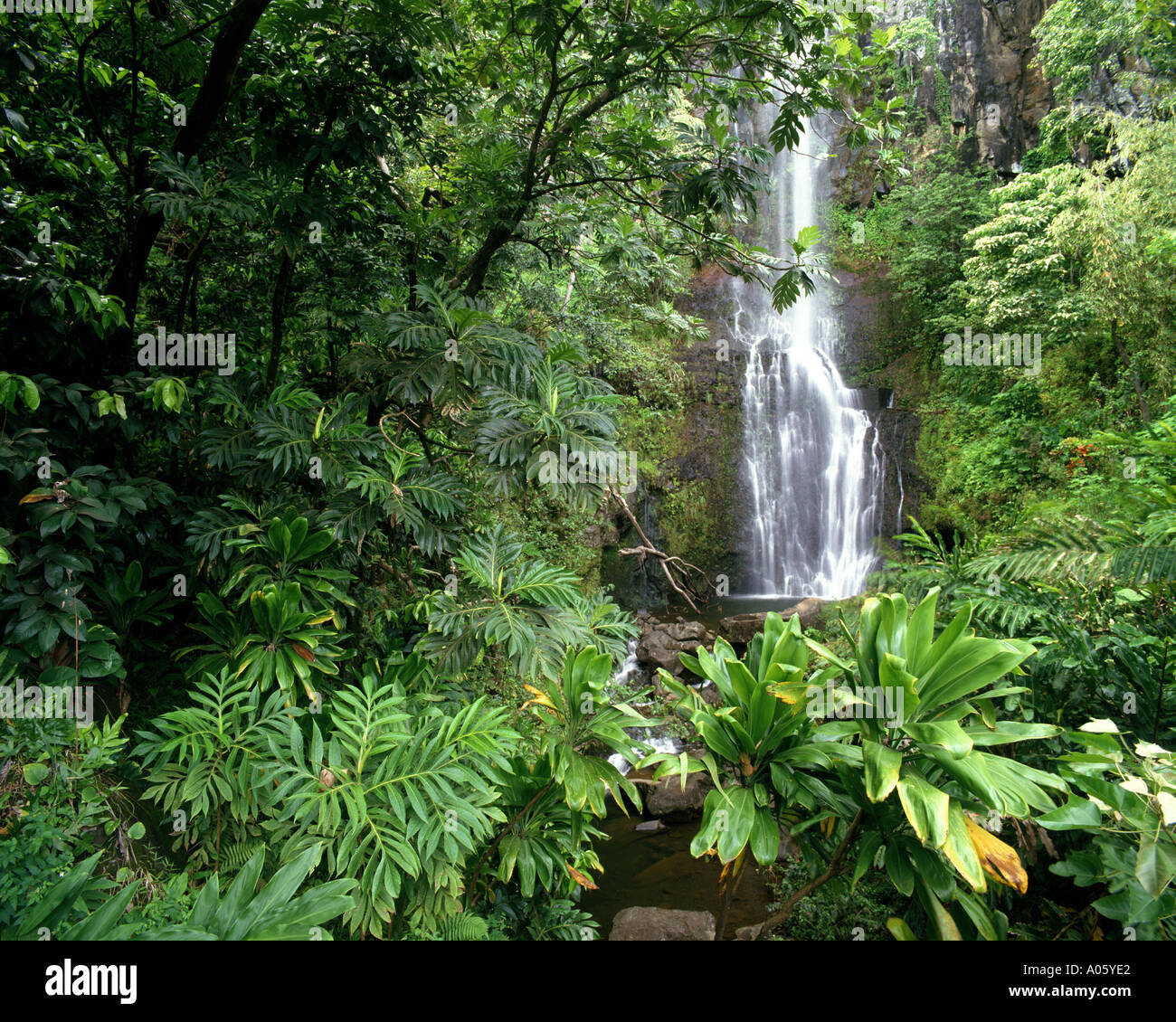 USA - HAWAII: Wailua Falls along the road to Hana on Maui Stock Photo