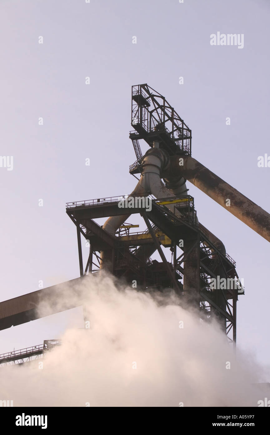 The corus steelworks at Redcar, Teeside, releasing clouds of steam and pollution Stock Photo