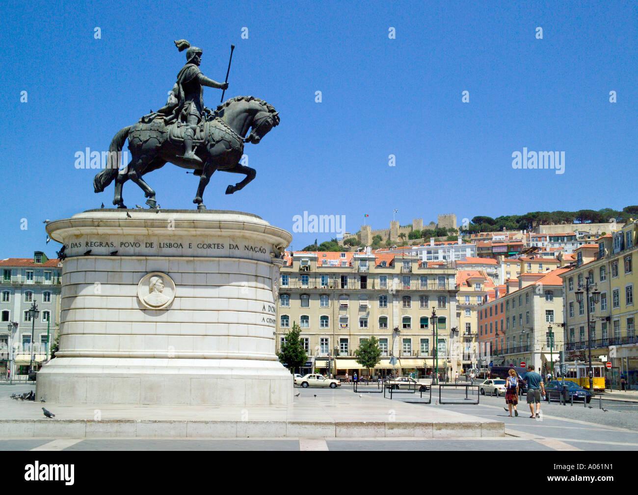 The equestrian statue of Dom Joao II in the Praca da Figueira square, central Lisbon, Portugal - Stock Image