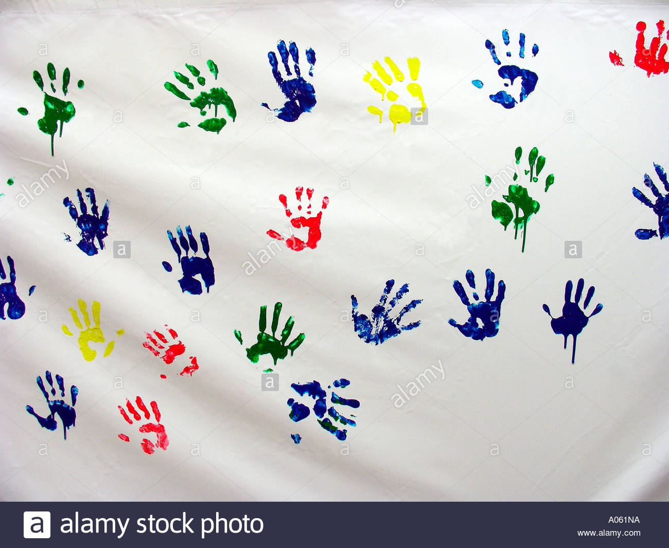 Hand print painting - Stock Image