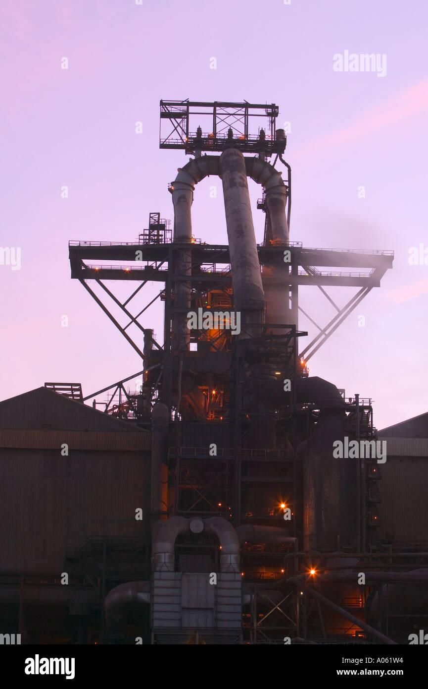 Steel furnace at Corus steelworks, Teeside, England - Stock Image