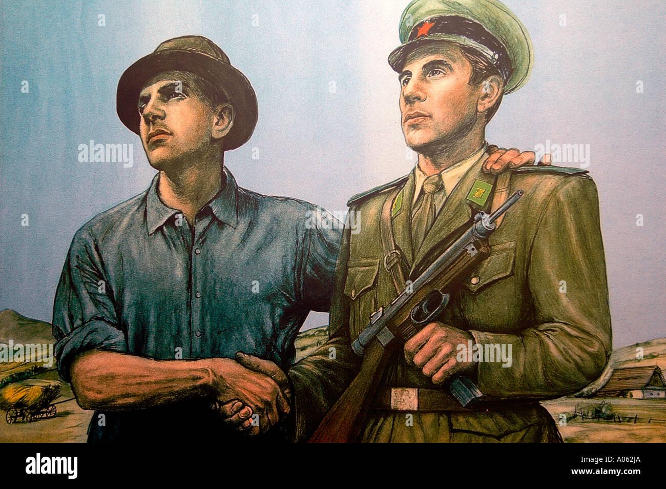 Socialist Realism Political Art Oil painting Czech - Stock Image
