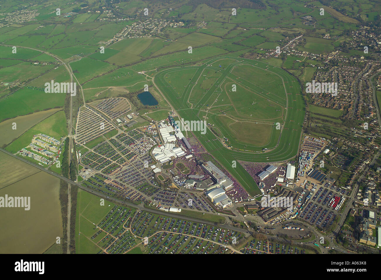 Aerial view of Cheltenham Gold Cup Horse Race at Cheltenham Racecourse during the Cheltenham Festival, won by Kicking King Stock Photo