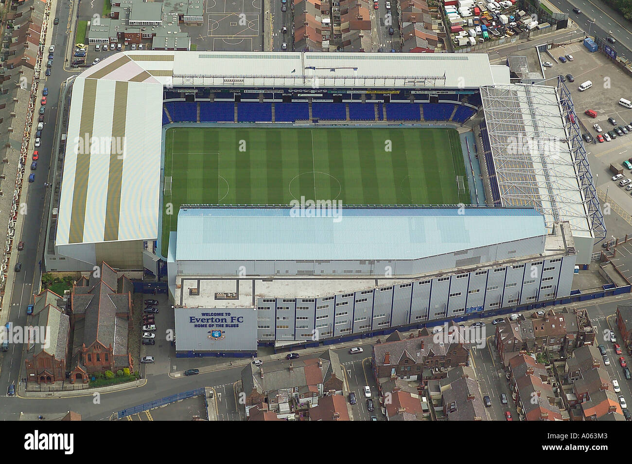 Aerial view of Everton Football Club in Liverpool also known as Goodison Park, home to the Toffees or Toffeemen Stock Photo