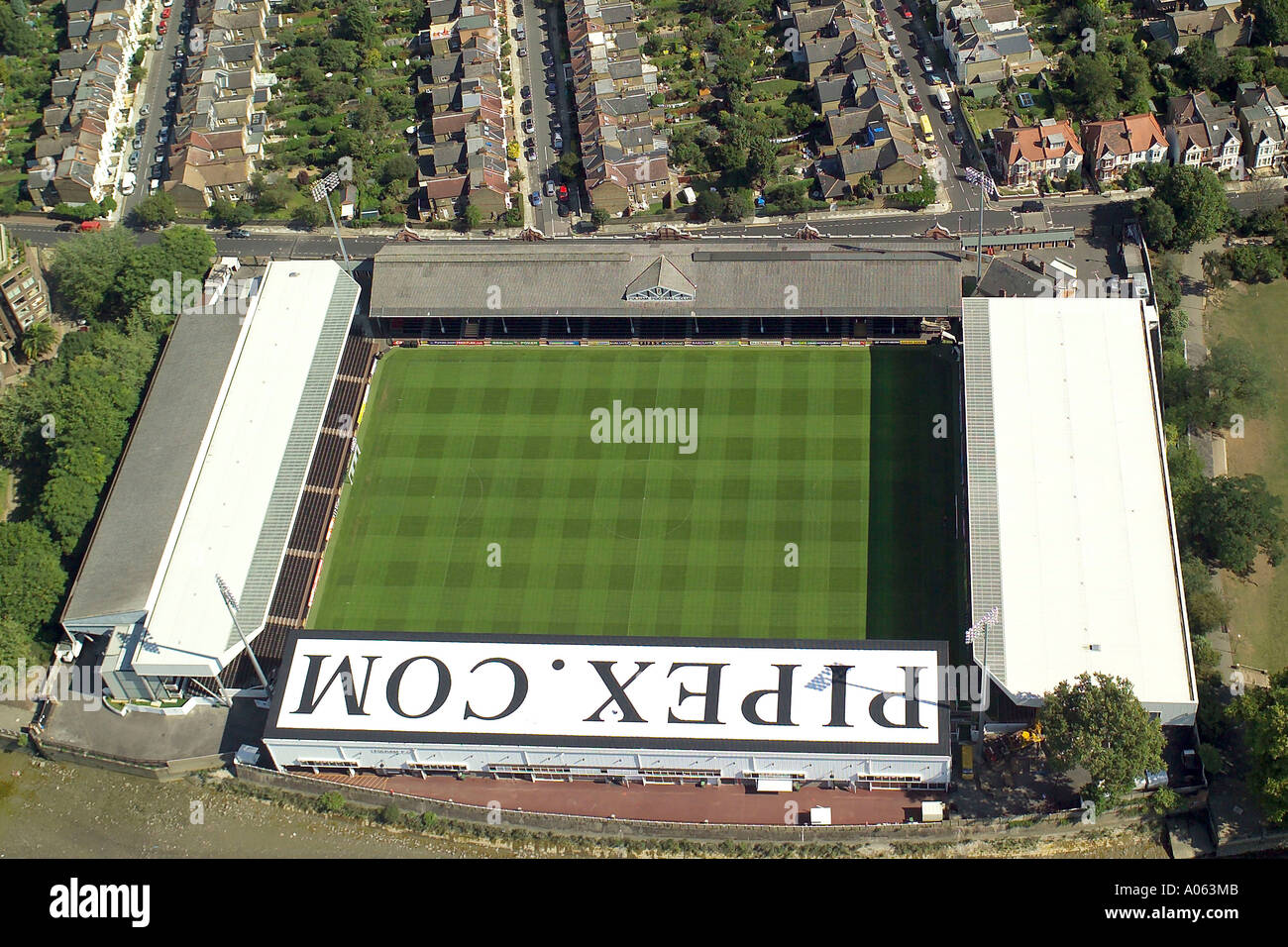 Aerial view of Fulham Football Club which is also known as Craven Cottage and is home to the Cottagers also known as the Whites - Stock Image