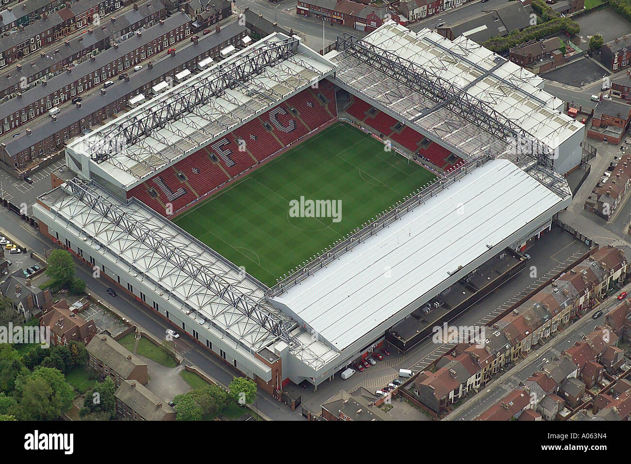 Aerial view of Liverpool Football Club who play at Anfield Stadium in Liverpool and are known as the Reds - Stock Image