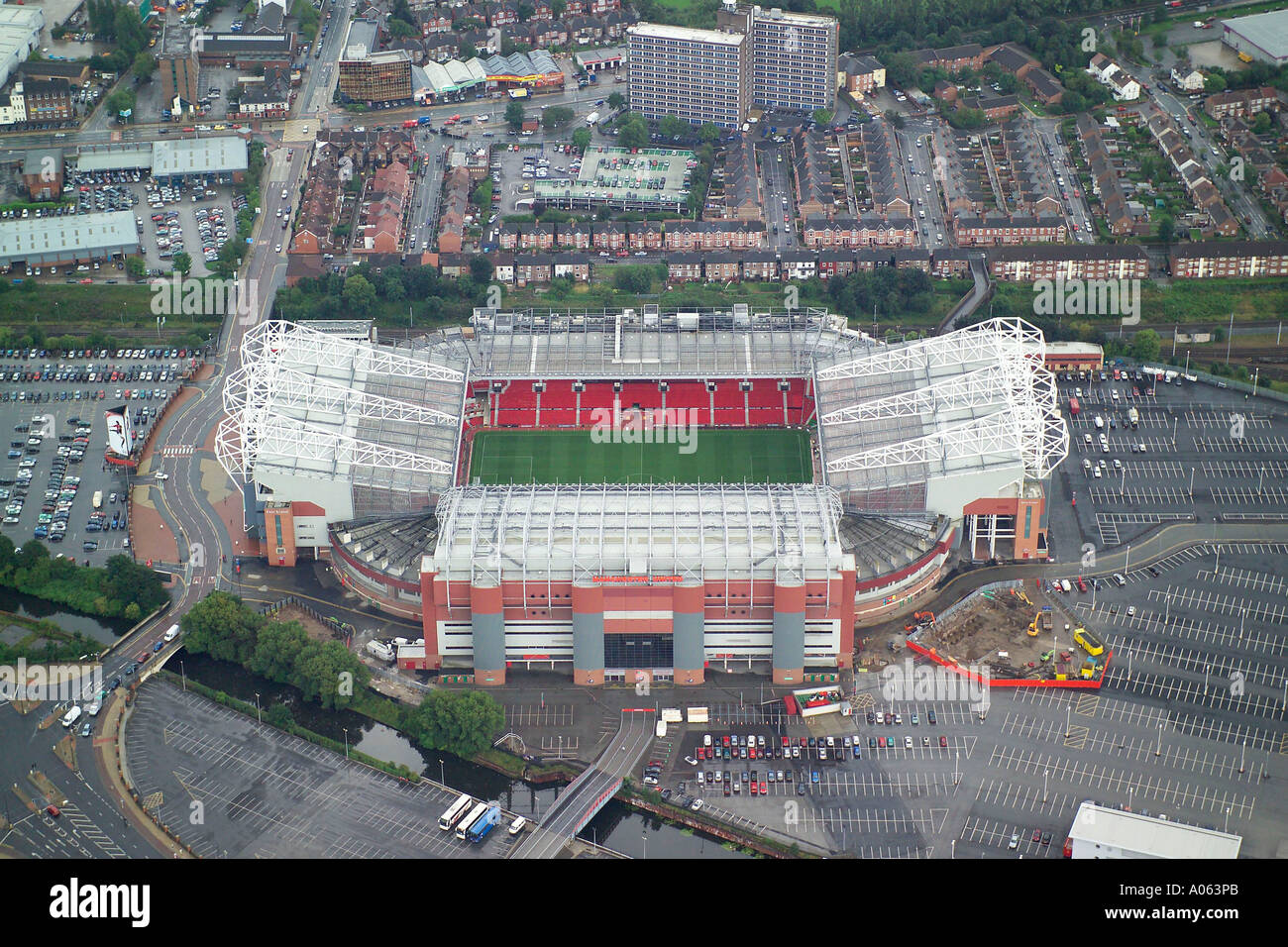 Aerial view of Manchester United Football Club, also known as Old Trafford, home to the Red Devils, Man U, United - Stock Image