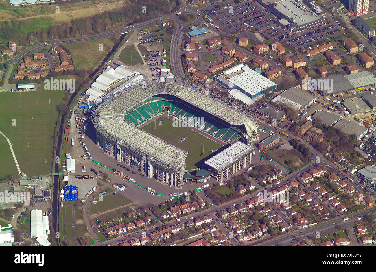 Aerial view of Twickenham Stadium, the home of Rugby Football Union in London. It is also known as Twickers & the Cabbage Patch - Stock Image